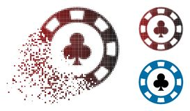 Sparkle Dotted Halftone Clubs Casino Chip Icon. Clubs casino chip icon in dispersed, pixelated halftone and undamaged whole variants. Particles are arranged into stock illustration