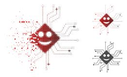 Sparkle Dotted Halftone Happy Chip Circuit Icon. Happy chip circuit icon in dispersed, dotted halftone and undamaged whole variants. Pixels are combined into vector illustration