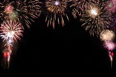 Sparkle firework on black background, happy new year 2018 concep Stock Photos