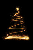 Sparkle firework Christmas tree. On black background Royalty Free Stock Image