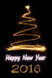 Sparkle firework Christmas tree and text. On black background Royalty Free Stock Photography