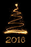 Sparkle firework Christmas tree and text Royalty Free Stock Photos