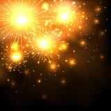 Sparkle firework. Sparkle golden firework on dark background, illustration Stock Photos