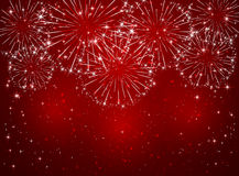 Sparkle firework on red background. Bright sparkling fireworks on red shiny background, illustration Stock Images