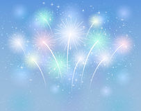 Sparkle fireworks. On the blue background, illustration Royalty Free Stock Image