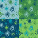 Sparkle Flower Pattern in Blues and Greens. Abstract floral seamless pattern in four colorways. Tiles repeat 6 inches Royalty Free Stock Photography