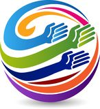 Globe hands logo stock illustration