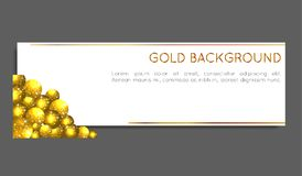 Sparkle gold circles. Voucher card, greeting card, banner, gift card. VECTOR. Sparkle gold circles on white background. Voucher card, greeting card, banner, gift Stock Photos