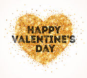 Sparkle Gold Glitter Valentines Day Heart Stock Images