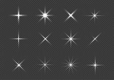 Sparkle icon set. Silver stars, magic glitters Royalty Free Stock Image