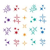 Sparkle lights stars set. Bright firework, decoration twinkle, s. Hiny flash Royalty Free Stock Photos
