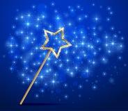 Sparkle magic wand on blue background Stock Photography