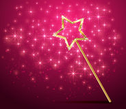 Sparkle magic wand on pink background Royalty Free Stock Image