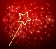 Sparkle magic wand on red background Royalty Free Stock Photography