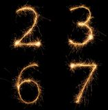 Sparkle numbers set Stock Photography