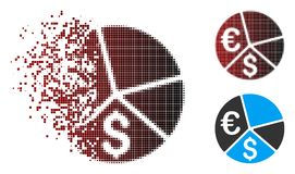 Sparkle Pixel Halftone Euro And Dollar Pie Chart Icon. Vector Euro and Dollar pie chart icon in dispersed, pixelated halftone and undamaged entire variants Vector Illustration