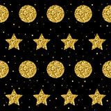 Sparkle star and circle seamless pattern background. Golden glit Royalty Free Stock Photography