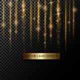 Sparkle stardust. Golden glittering magic  isolated on black transparent background. Glitter bright trail, glowing. Shimmer illustration Stock Images