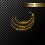 Sparkle stardust. Golden glittering magic  isolated on black transparent background. Glitter bright trail, glowing shimmer v. Sparkle stardust. Golden glittering Royalty Free Stock Photos