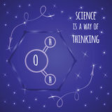 Sparkle vector science banner with inspirational quote decorated water molecule icon on hexagon and brilliant stars Stock Image
