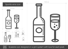 Sparkle wine line icon. Royalty Free Stock Images