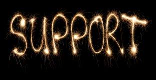 sparkler λέξη υποστήριξης γραπτή Στοκ Εικόνα