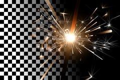 Sparkler σε ένα διαφανές υπόβαθρο Στοκ Φωτογραφίες