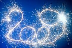 Sparkler 2009 number. On blue background Royalty Free Stock Images
