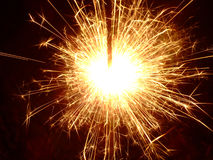 Sparkler!. Lit sparkler in the dark Royalty Free Stock Photos