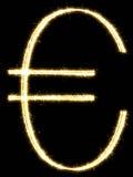 Ευρώ φιαγμένο από sparkler Απομονωμένος σε μια μαύρη ανασκόπηση ελεύθερη απεικόνιση δικαιώματος