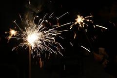 Sparkler alla notte Fotografia Stock Libera da Diritti