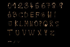 Sparkler alphabet. Complete alphabet made by sparkler. In 'Maximum size' (6000x4000) has each letter resolution about 350x500px royalty free illustration