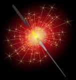 Sparkler auf einem rot-schwarzen Hintergrund lizenzfreie abbildung