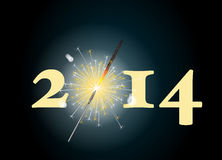 2014 sparkler. 2014 banner with the zero being depicted by a glowing sparkler. Also available in format royalty free illustration