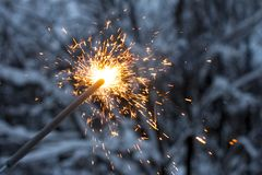 Sparkler. Beautiful fireworks. March 8 and international women`s day. royalty free stock photo