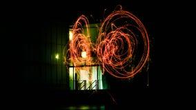 Sparkler bulb exposure stock photography