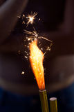 Sparkler Burning Fotografie Stock Libere da Diritti