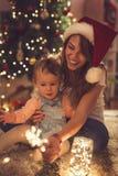 Sparkler on a Christmas Eve Stock Image