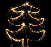Sparkler christmas tree Royalty Free Stock Image