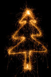 Sparkler Christmas tree Stock Photo
