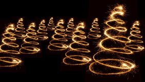 Sparkler christmas trees spiral Royalty Free Stock Image