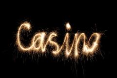 Sparkler da palavra do casino Fotos de Stock Royalty Free