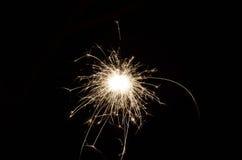 Sparkler in darkness. Bright sparkler in absolute darkness Stock Photos