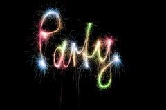 Sparkler de la palabra del partido del color Imagen de archivo libre de regalías
