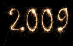 sparkler de numéro de l'an 2009 neuf Photographie stock