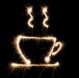 Sparkler del cofee de la taza Imágenes de archivo libres de regalías