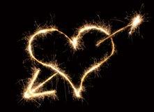 Sparkler della freccia e del cuore Fotografia Stock