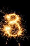 Sparkler digit against a black background Royalty Free Stock Images