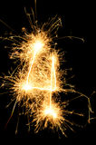 Sparkler digit against a black background Royalty Free Stock Image