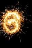 Sparkler digit against a black background Royalty Free Stock Image